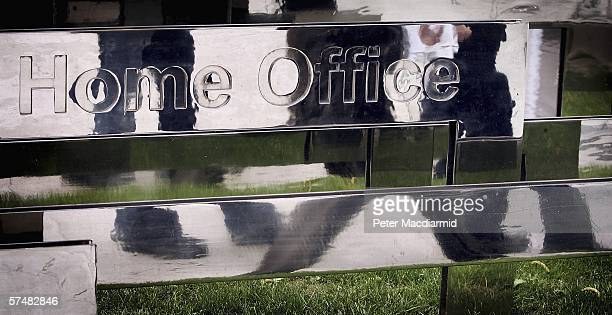 A reflective sign displays the name of The Home Office in Marsham Street on April 28 2006 in London Home Secretary Charles Clarke will update...