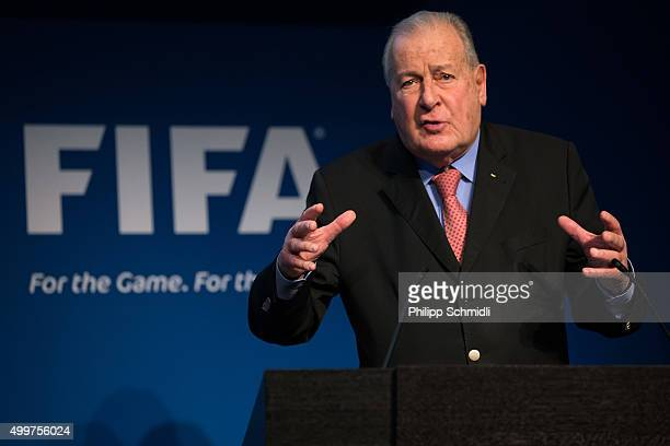 Reform Committee Member Francois Carrard attends a FIFA Executive Committee Meeting Press Conference at the FIFA headquarters on December 3, 2015 in...