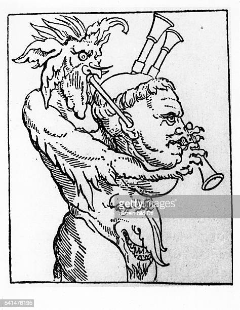 Reformation Woodcuts Martin Luther *1011148318021546 Reformator Germany Catholic pamphlet with a caricature of Luther 'Devil's bagpipe' woodcut by...