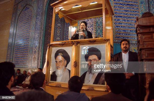 Reformist Iranian presidential candidate Mohammad Khatami gives a speech at the main mosque in Eslam AbadeGharb near Kermanshah during a fourday...