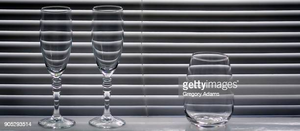 Refracted Light and Shadow on Wineglasses