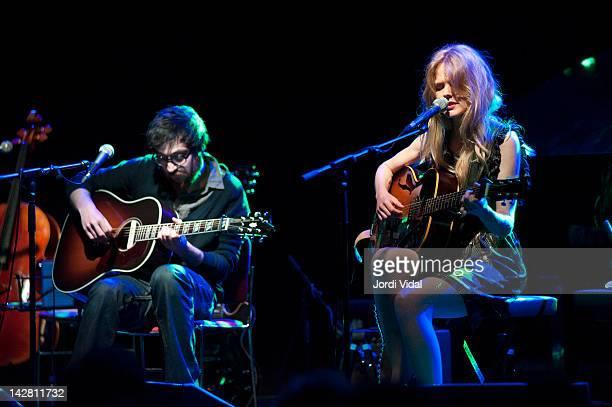 Refree and Christina Rosenvinge perform on stage during Festival de Guitarra de Barcelona at Luz De Gas on April 12 2012 in Barcelona Spain