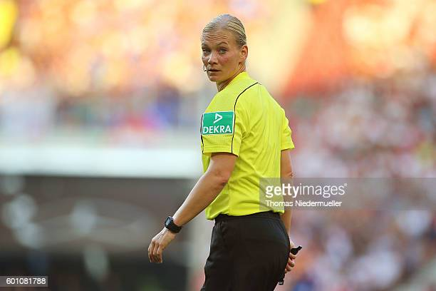 Refree Bibiana Steinhaus is seen during the Second Bundesliga match between VfB Stuttgart and 1 FC Heidenheim 1846 at MercedesBenz Arena on September...