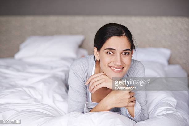 refreshed after a good night's sleep - lying on front stock pictures, royalty-free photos & images