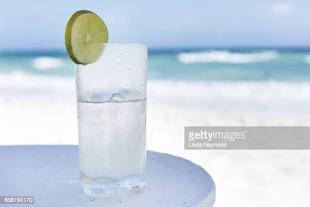 Refreshing beverage on the beach