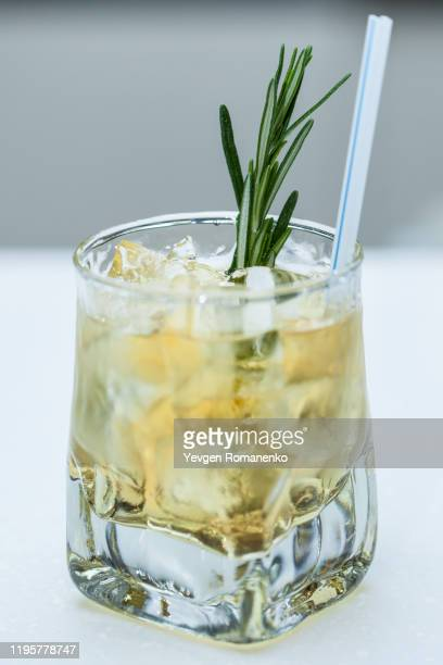 refreshing cocktail with rosemary and ice in a glass - tonic water stock pictures, royalty-free photos & images