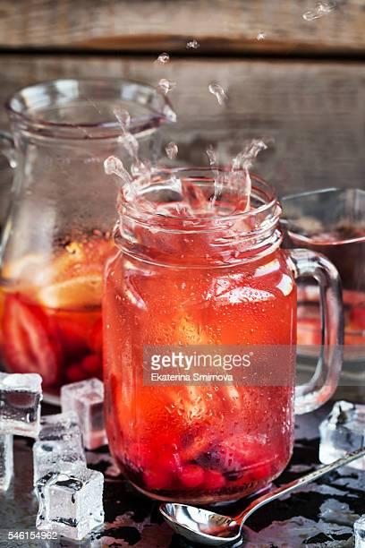Refreshing cold fruit lemonade