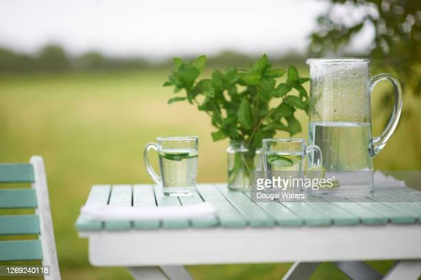 refreshing drink on country garden table. - mint leaf culinary stock pictures, royalty-free photos & images