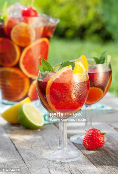 refreshing fruit sangria (punch) - sangria stock pictures, royalty-free photos & images