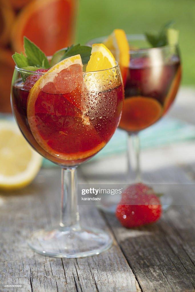 Refreshing fruit sangria (punch) : Stock Photo
