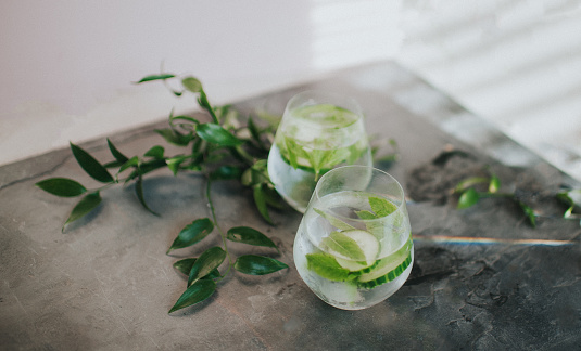 Refreshing glass of water or Gin and Tonic - gettyimageskorea