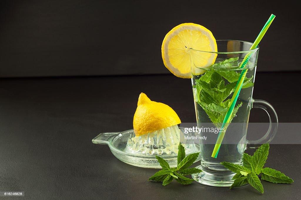 Refreshing mint and lemon. Homemade lemonade : Stock Photo