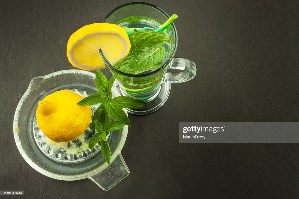 Refreshing mint and lemon. Homemade lemonade : Foto de stock