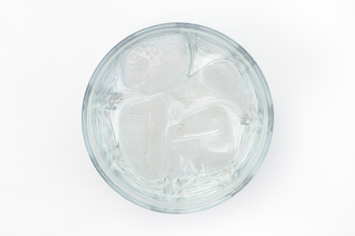 refreshment in glass of water filled with ice cubes 471889295