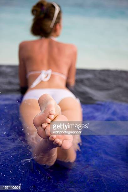 refreshment - female feet soles stock photos and pictures