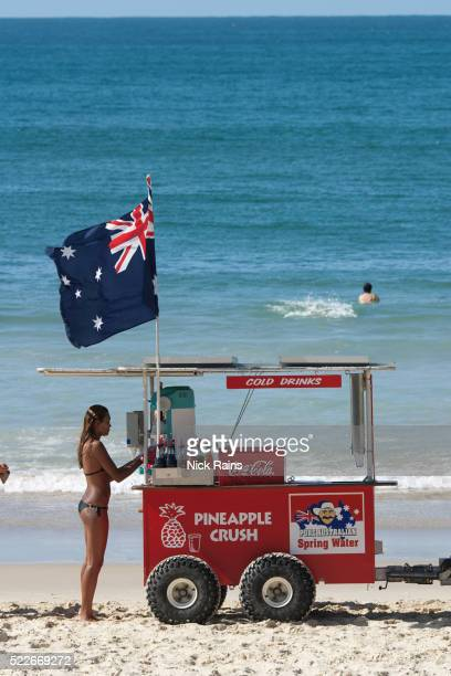 Refreshments vendor on beach at Noosa in Queensland