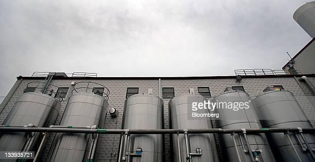 Refrigerated cream tanks stand outside Turkey Hill LP's production facility in Contestoga Pennsylvania US on Monday Nov 21 2011 Turkey Hill a...