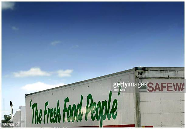 A refrigerated truck loaded with fresh fruit and vegetables including spring onions from Peter Cochrane's Devon Meadows vegetable farm destined for...
