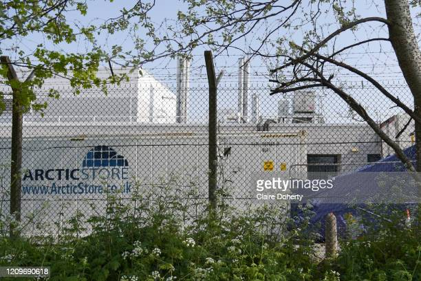 Refrigeration storage containers believed to be for victims of coronavirus at Queen Elizabeth Hospital in Woolwich on 11th April 2020 in London...