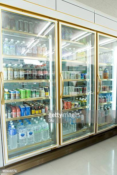 refrigerator at convenience store - convenience store interior stock photos and pictures