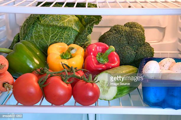 refrigerator full of vegetables - yellow bell pepper stock pictures, royalty-free photos & images
