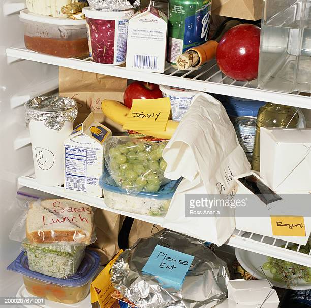 Refrigerator shelves filled with food