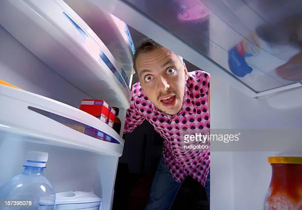 réfrigérateur grande surprise - frigo humour photos et images de collection