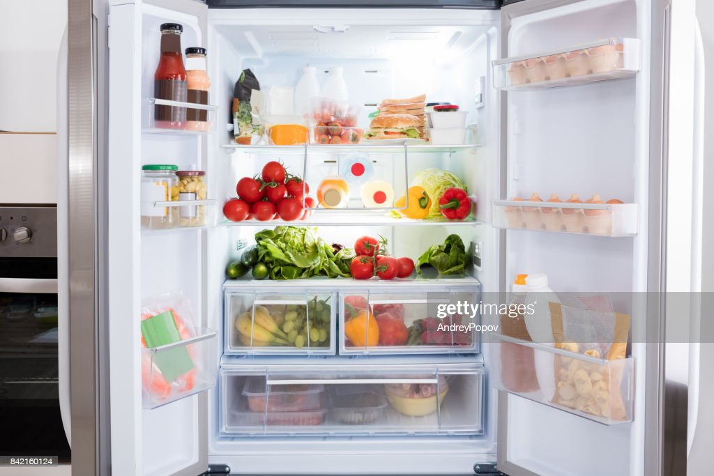 Refrigerator With Fruits And Vegetables : Stock Photo