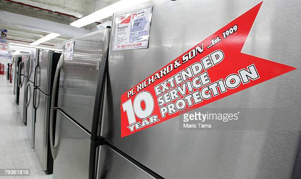 Refrigerators are seen for sale in a PC Richard Son store January 29 2008 in New York City The Commerce Department announced that orders for durable...