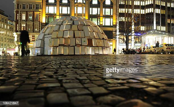320 refrigerators are set up as an igloo on November 1 2010 in the northern German city of Hamburg The installation set up by an energy provider to...