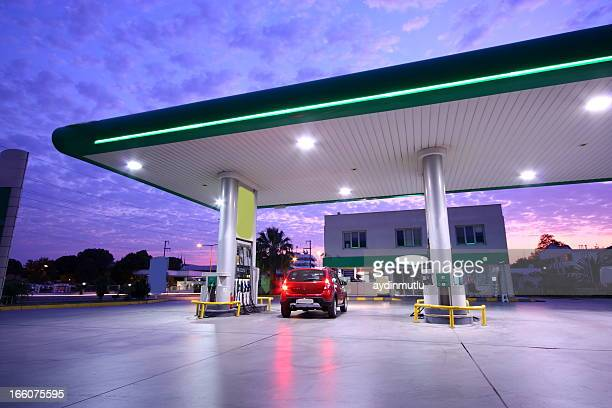 refueling station - gas station stock pictures, royalty-free photos & images