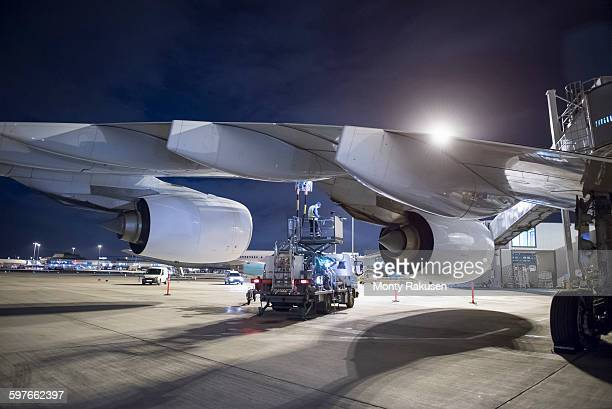 Refuelling A380 aircraft on runway at night