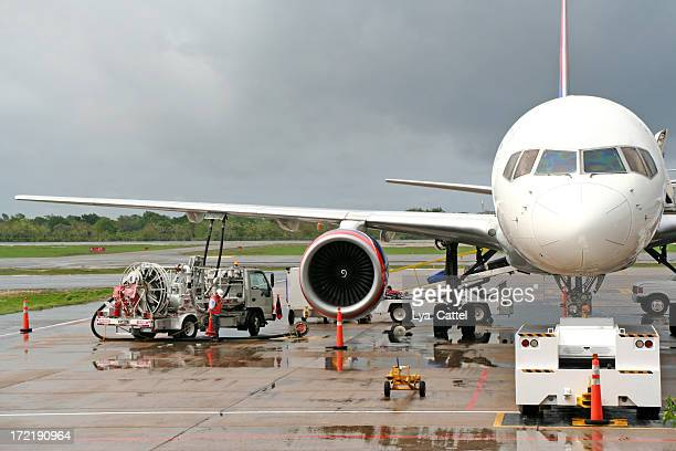 refuelling an airplane on the airport # 1 - aircraft stock photos and pictures