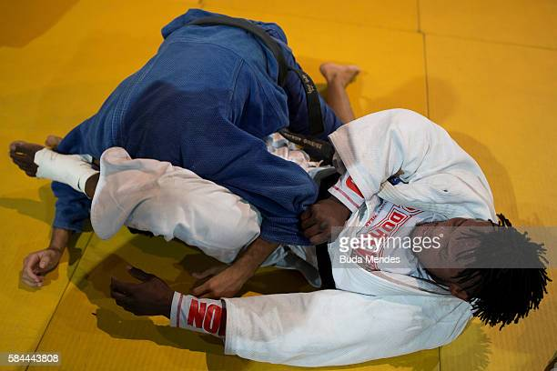 Refugee and judo athlete Popole Misenga to Democratic Republic of Congo fights during a training session ahead of the Olympic games on July 28, 2016...