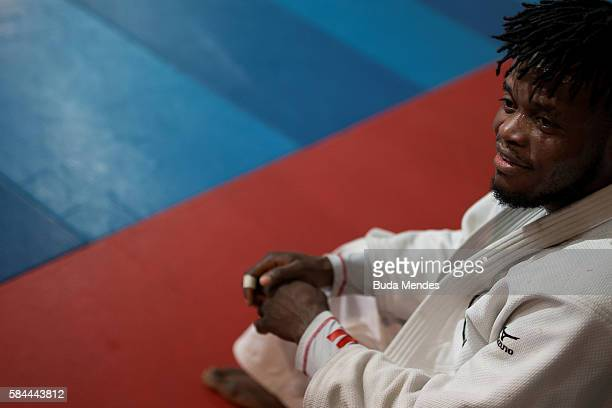 Refugee and judo athlete Popole Misenga to Democratic Republic of Congo looks on during a training session ahead of the Olympic games on July 28,...