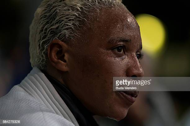 Refugee and judo athlete Yolande Mabika to Democratic Republic of Congo looks on during a training session ahead of the Olympic games on July 28,...