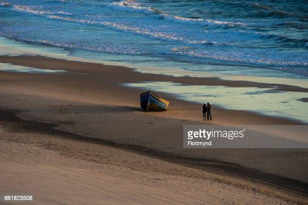 Refugee boat from Marocco on Playa Victoria beach, Cádiz, Spain