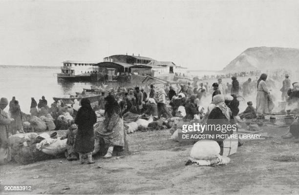 Refugee camp at the Volga in Samara famine in Russia from L'Illustrazione Italiana Year XLVIII No 45 November 6 1922