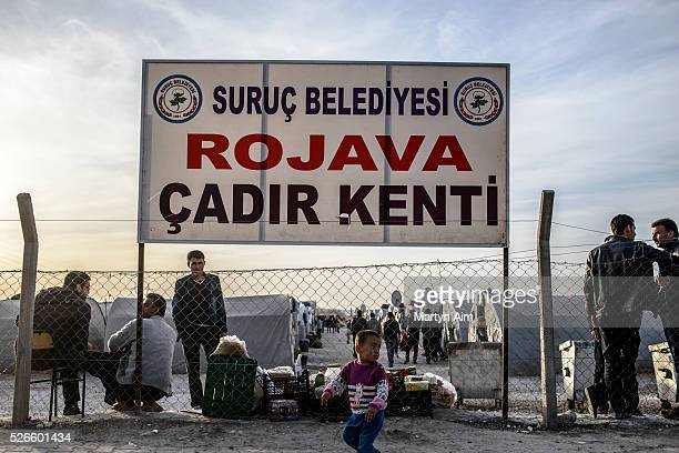 A refugee camp for Syrian Kurds in Suruc Turkey which they have named Rojava after the de facto autonomous Kurdish region of northern and...