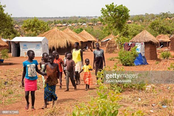 Refugee children from South Sudan walk in Bidibidi resettlement camp in the Northern District of Yumbe on April 14 2017 Bidibidi was recently...