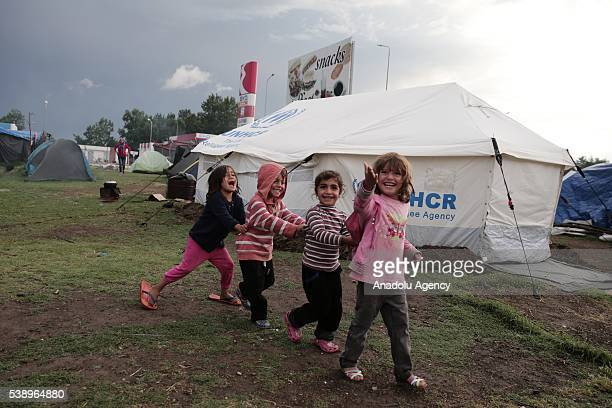 Refugee children play games at Diavata refugee camp in Thessaloniki Greece on June 6 2016