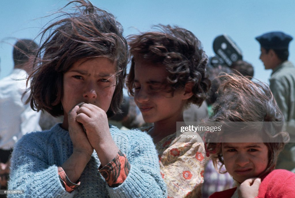 Refugee children stay in the refugee camp at Mafraq, Jordan, during the Six Day War. | Location: Mafraq, Jordan.