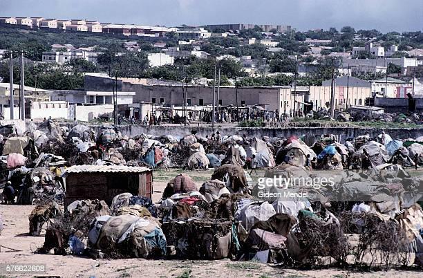 refugee encampment in mogadishu - flyktingläger bildbanksfoton och bilder