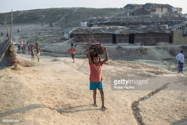 COX'S BAZAR BANGLADESH COX'S BAZAR CHITTAGONG BANGLADESH A refugee girl going back to her makeshift cam after collecting some firewood in Kutapalong...