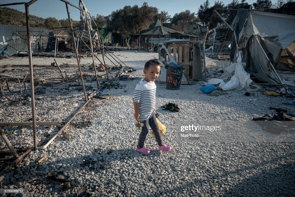 Minor Refugees Living In Moria Camp After The Fire : News Photo