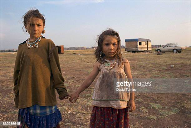 Refugee Gypsy girls at a camp outside of Rome their temporary home as a result of Gypsies being the target of antiimmigrant attacks throughout...
