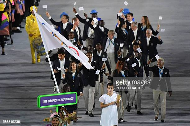 Refugee Olympic Team's Rose Nathike Lokonyen leads her delegation during the opening ceremony of the Rio 2016 Olympic Games at the Maracana stadium...