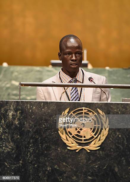 Refugee speaker Olympic athlete Yiech Pur Biel attends UNHCR #WithRefugees petition handover at UN General Assembly Hall at United Nations on...