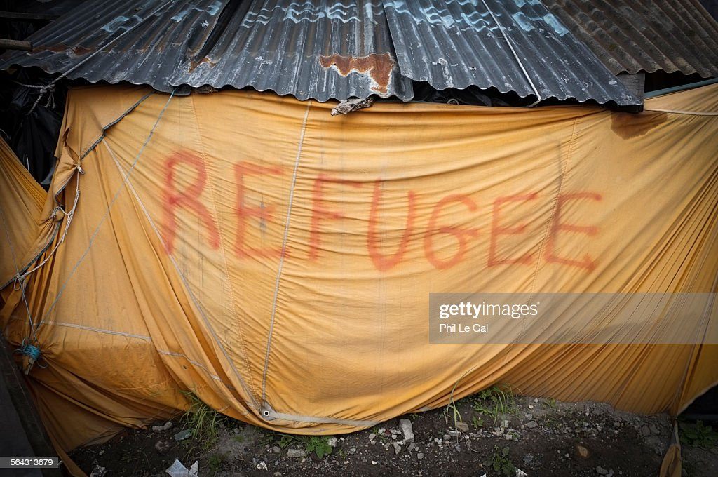 Refugee tent in the Jungle Calais : Stock Photo