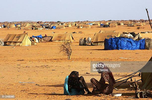 Refugee women from the Darfur region of Sudan live temporarily under a tree as they wait for new tents to become available in the nearby Oure Cassoni...